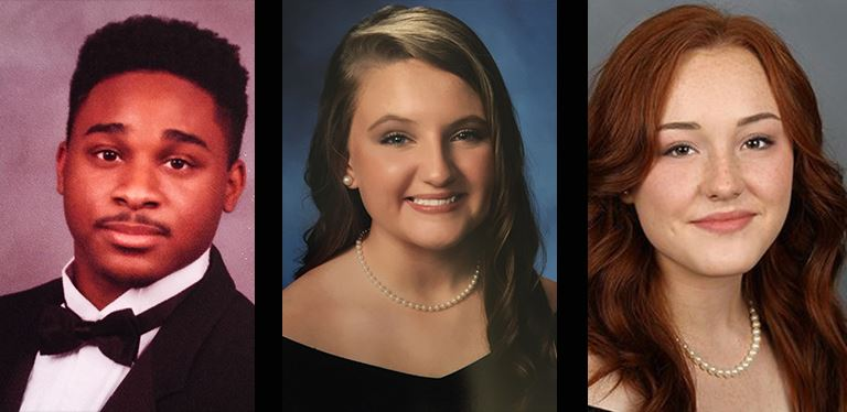 yearbook photos of Akil Prioleau, Caroline Helms and Georgie Bellinger